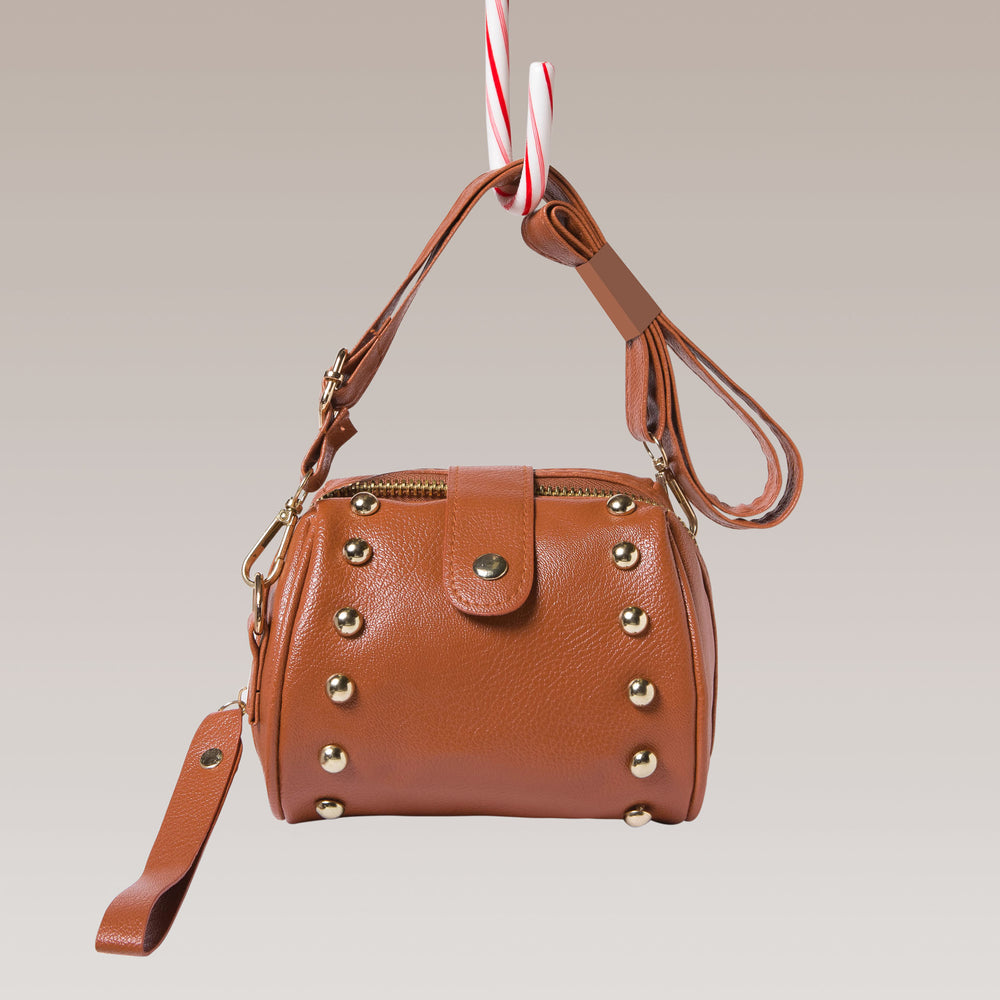 Girl's Mini Barrel Studded Hand Bag Brown Front