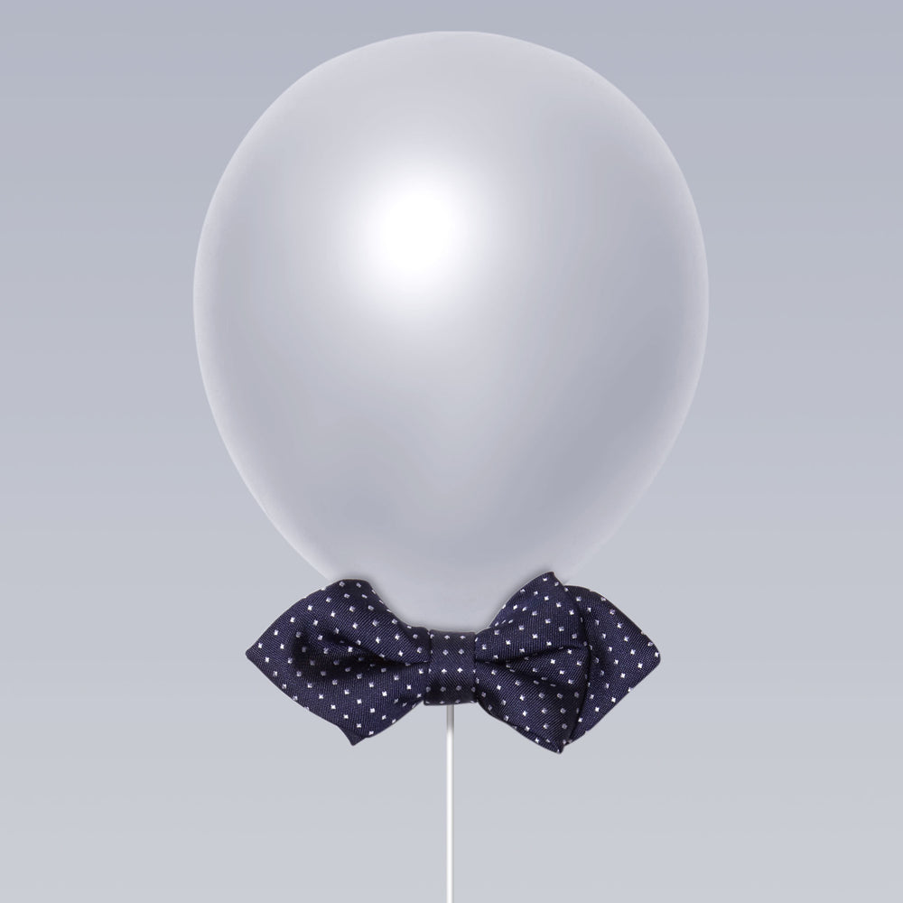 Daddy and Kid Diamond Point Bow Tie Dots Print Navy Balloon