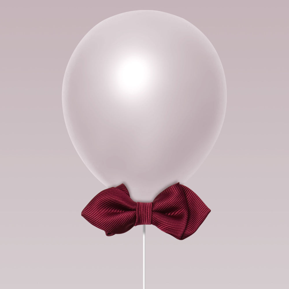 Daddy and Kid Diamond Point Bow Tie plain color burgundy balloon