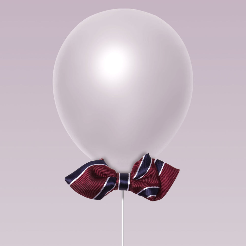 Daddy and Kid Diamond Point Bow Tie stripe print burgundy and navy balloon