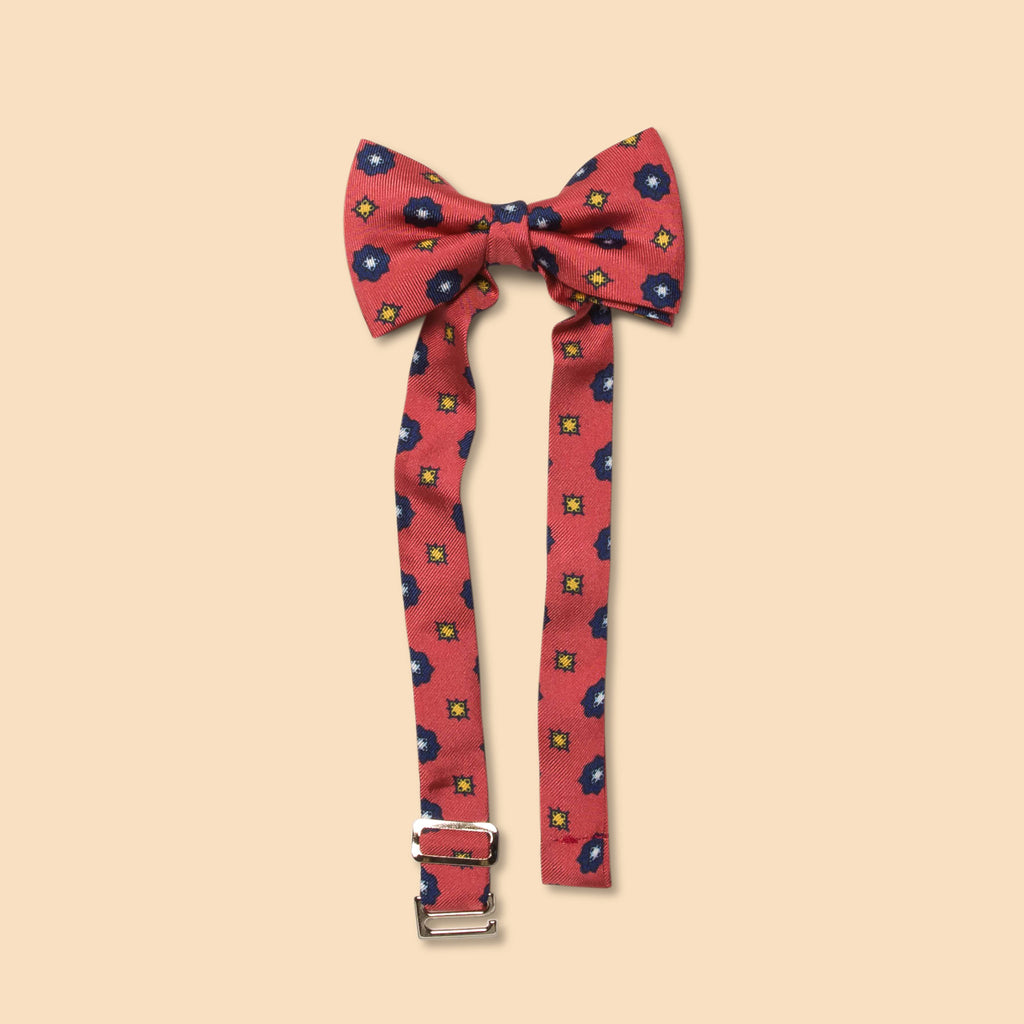 Little butterfly bow tie aster print coral and navy