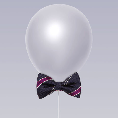 Little butterfly bow tie stripe print navy and violet balloon