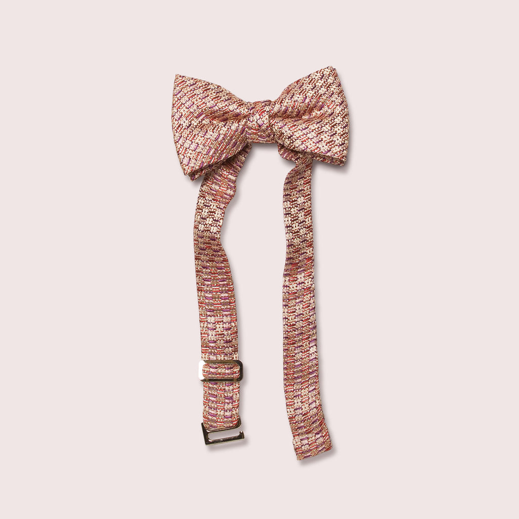 Little butterfly bow tie tweed texture blush
