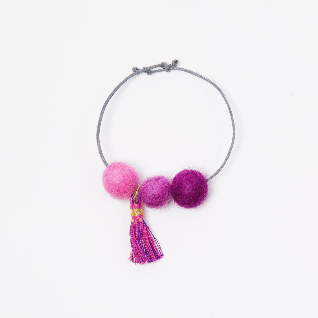 Lali Pom Pom Bracelet for girls purple and pink flat
