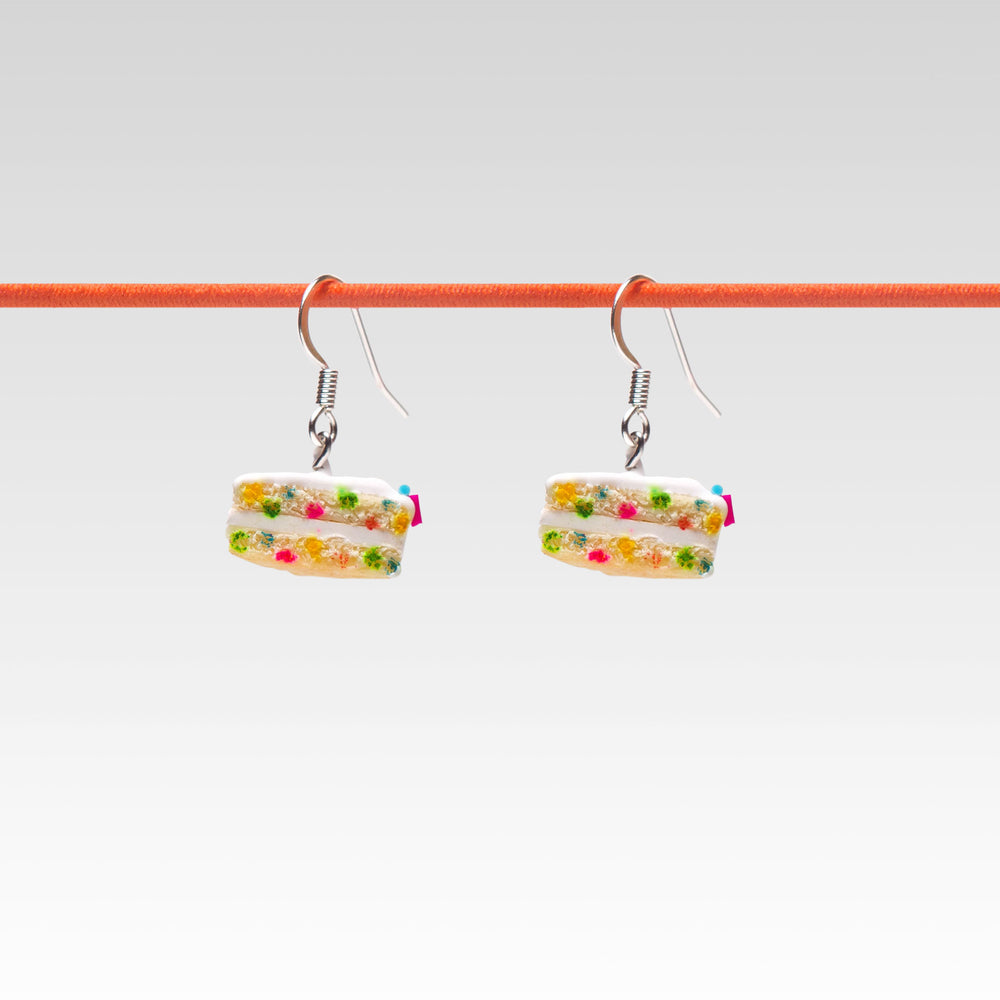 Yomi Yomis Dangle Earrings Rainbow Sprinkle Confetti Birthday Cake