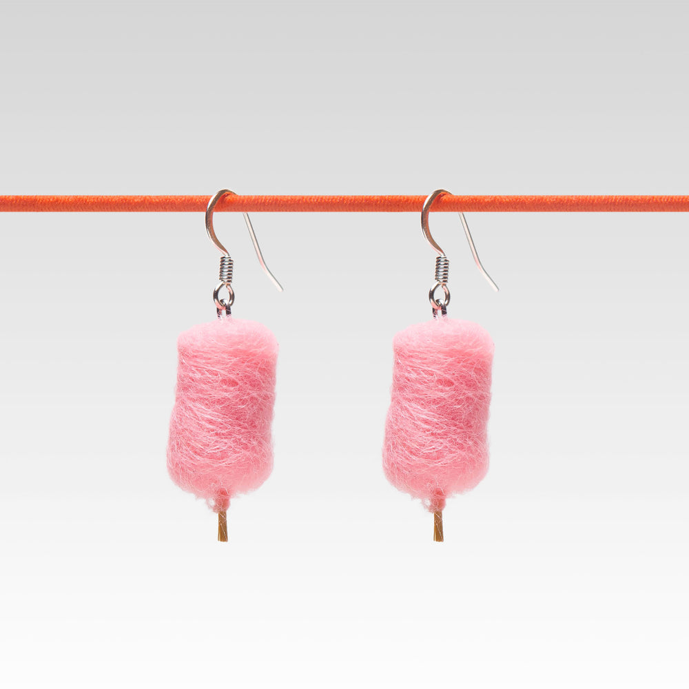 Yomi Yomis Dangle Earrings Pink Cotton Candy