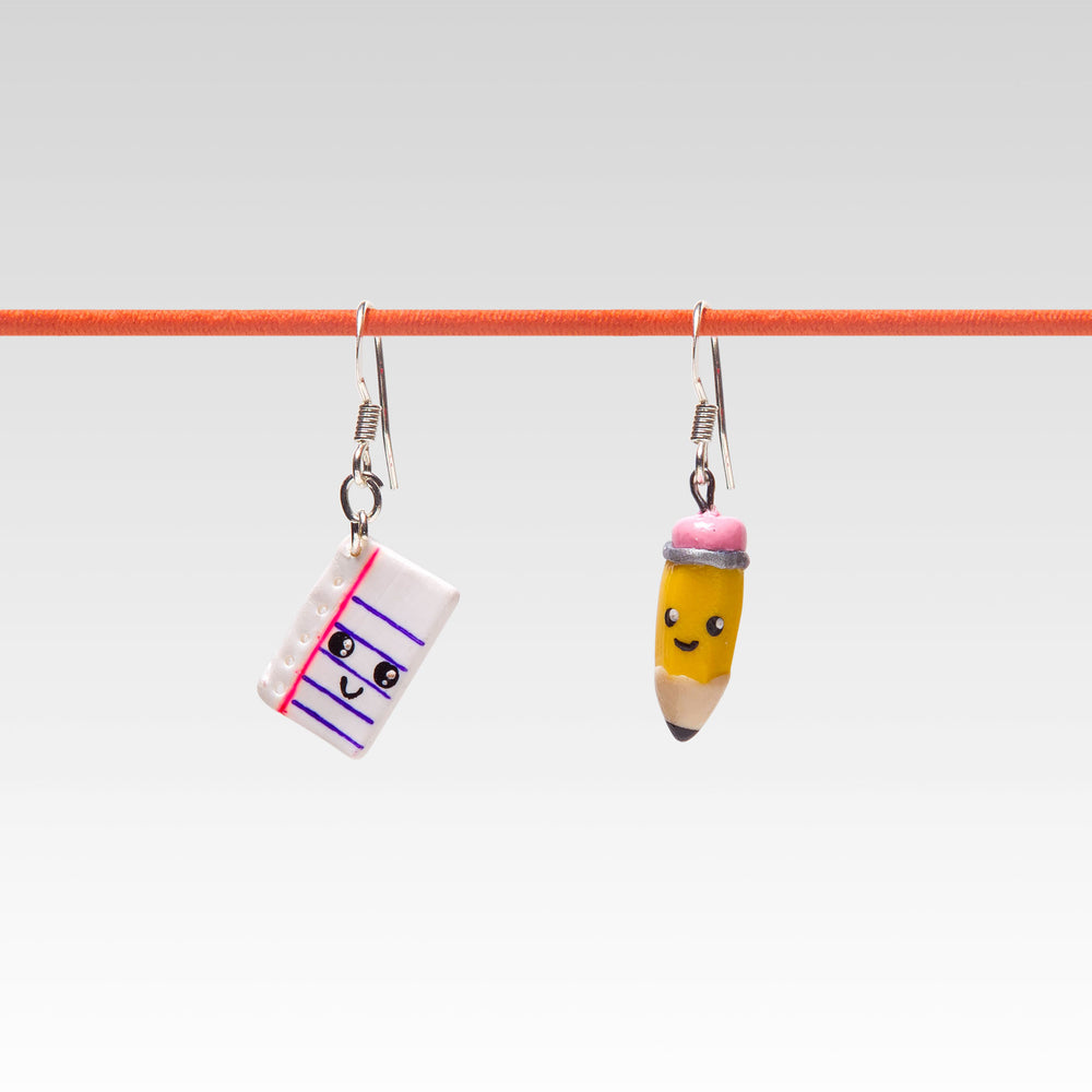 Yomi Yomis Dangle Earrings Notebook and Pencil