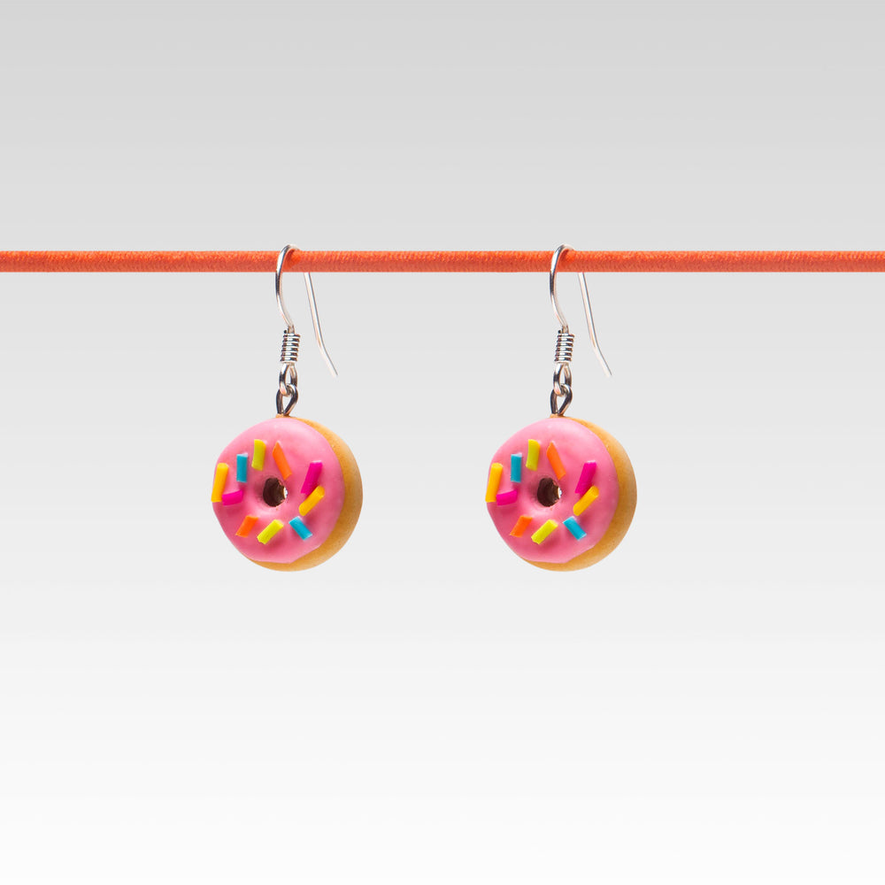 Yomi Yomis Dangle Earrings Strawberry Glazed Rainbow Sprinkle Donut