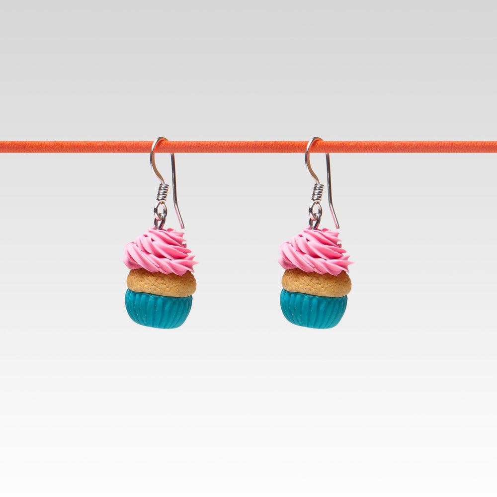 Yomi Yomis Dangle Earrings Sweet Cupcake Pink Frosting