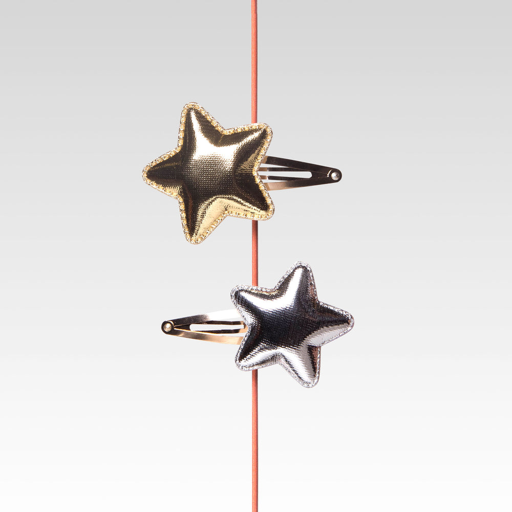 Snap Hair Clip For Girls Set of Two Gold and Silver Stars