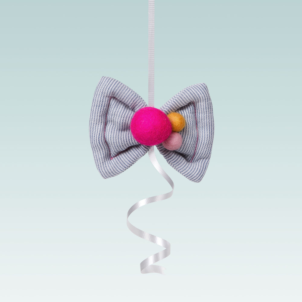 lali puff bow hair clip with felp pom pom grey and pink