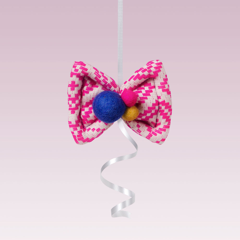 lali puff bow hair clip with felp pom pom pink and blue