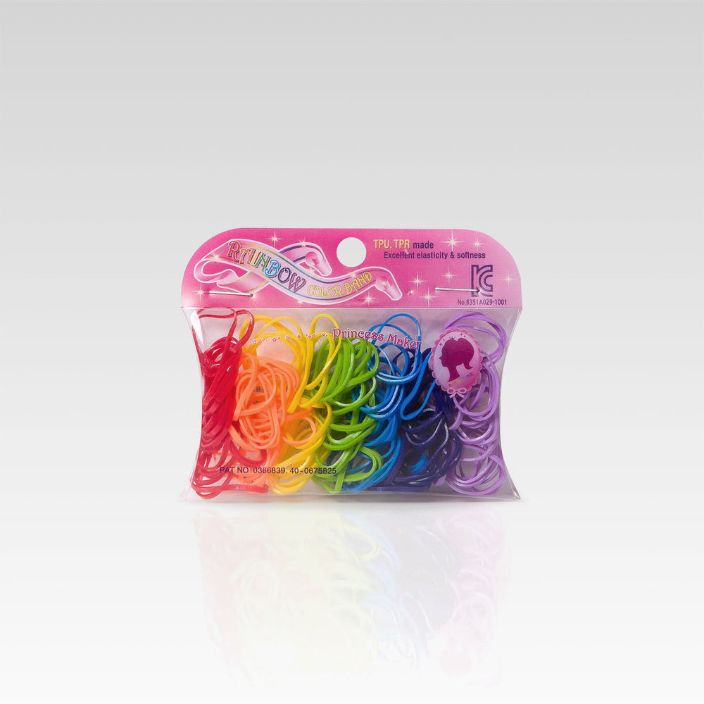 Hair Band Rubber Small Rainbow 100 set