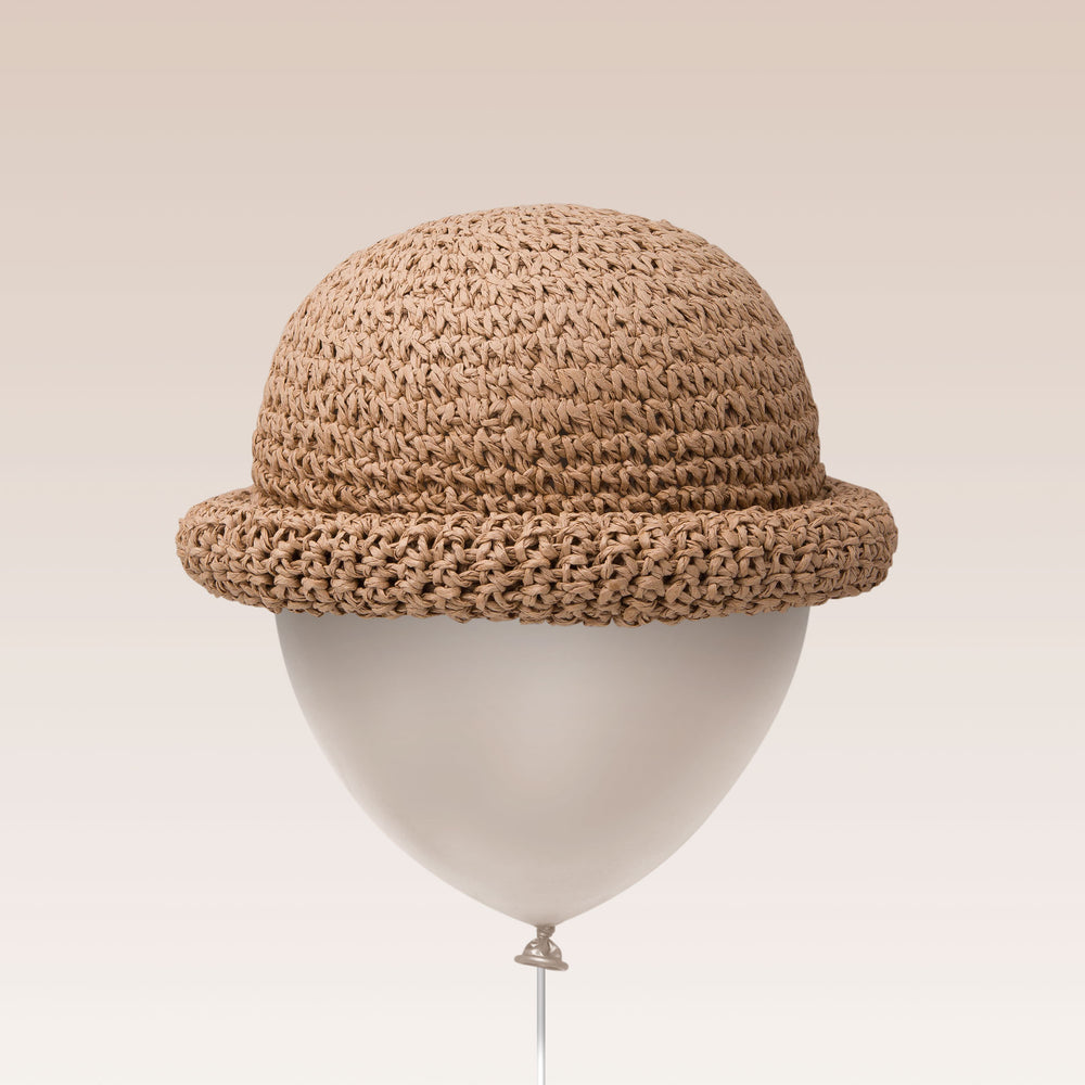 Adjustable Sun Hat Straw Bell Hat Brown Balloon