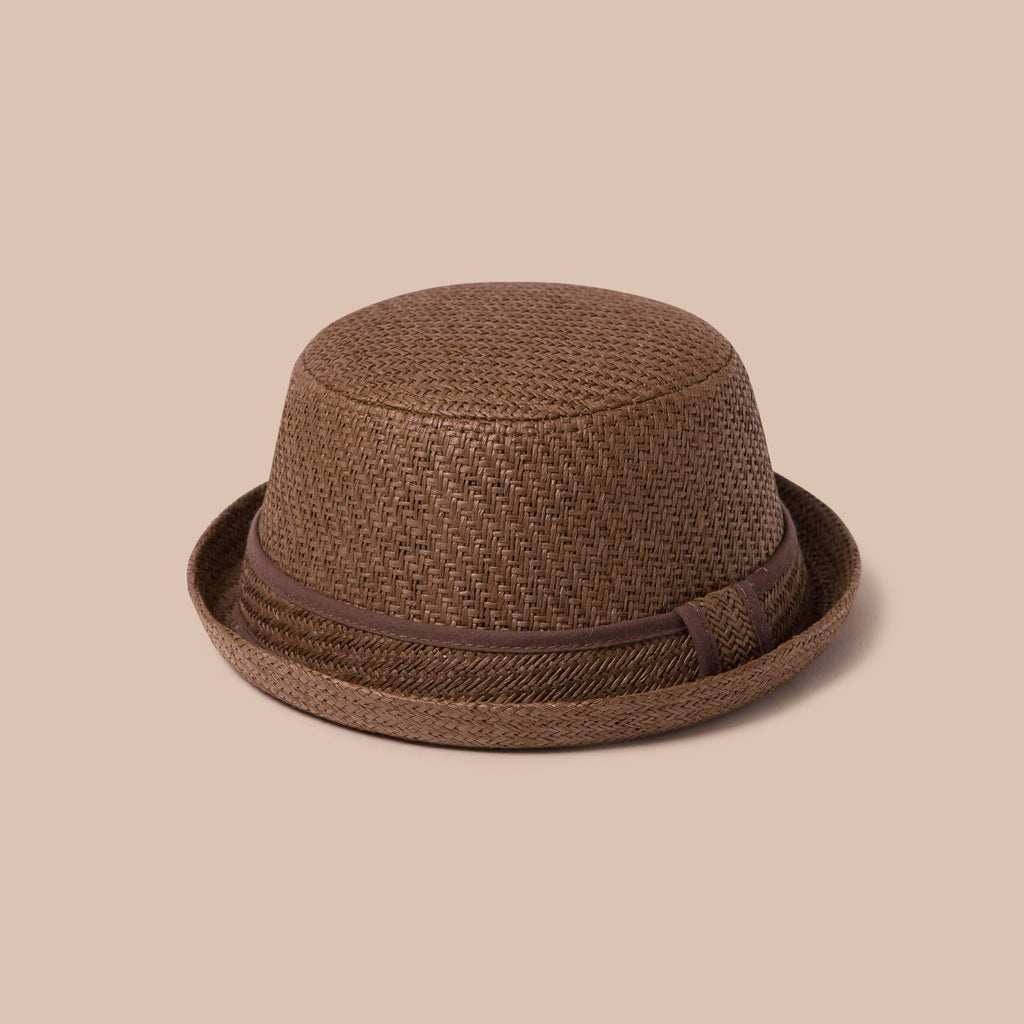 Adjustable Sun Hat Straw Boater Hat Brown