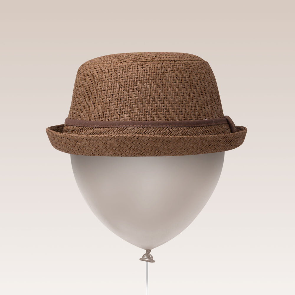 Adjustable Sun Hat Straw Boater Hat Brown Balloon