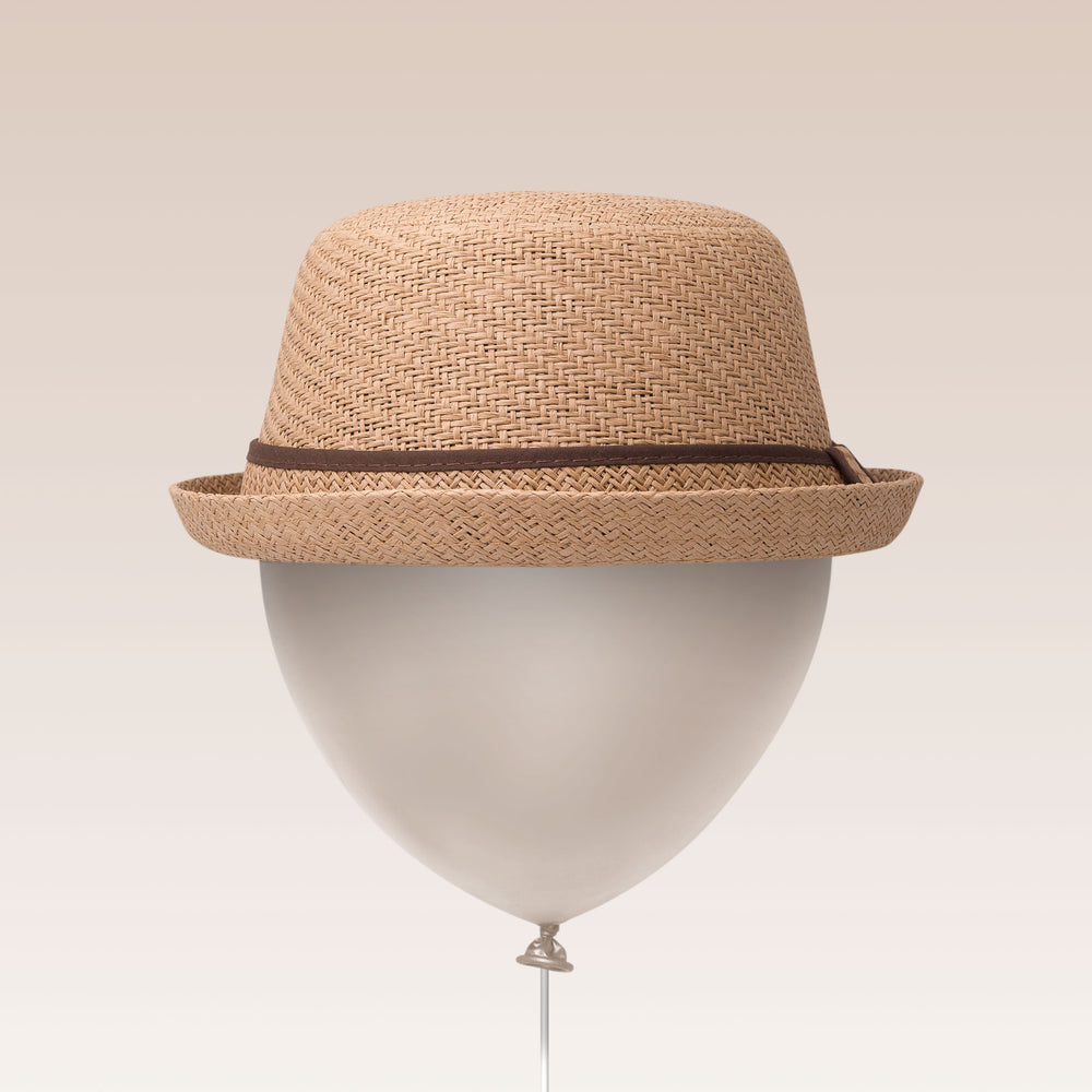 Adjustable Sun Hat Straw Boater Hat Tan Balloon