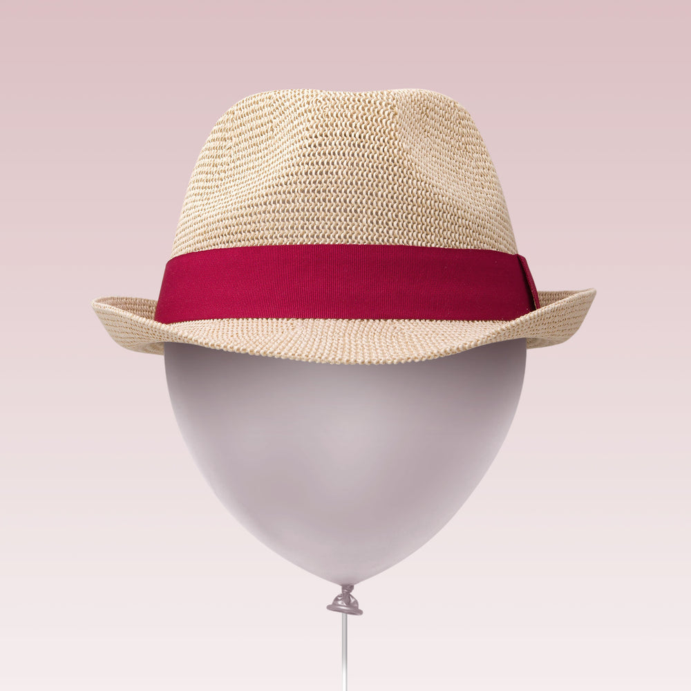 Adjustable Sun Hat Straw Fedora Hat Red Strap Balloon