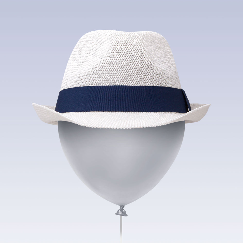Adjustable Sun Hat Straw Fedora Hat Navy Strap Balloon