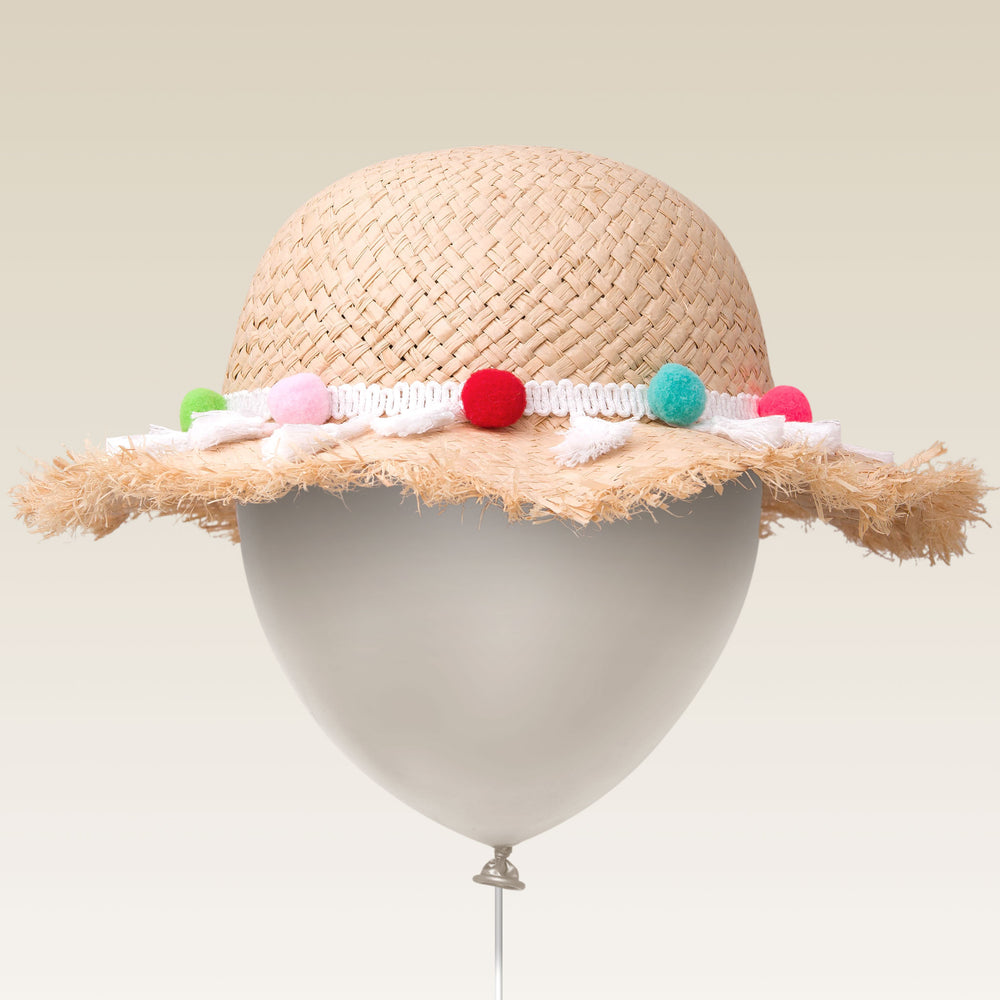 Adjustable Sun Hat Straw Pom Pom Hat Colorful Balloon