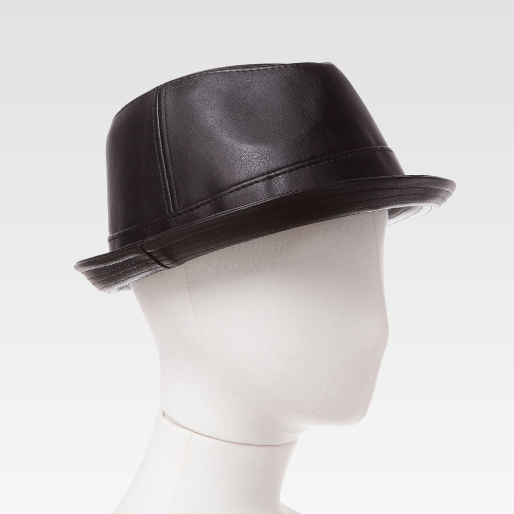 Boys Faux Lether Fedora Children's Tribly Hat in Black Mannequin