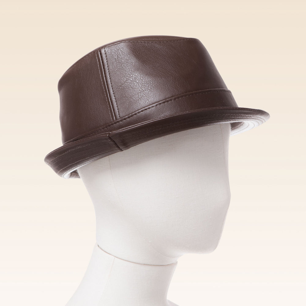 Boys Faux Lether Fedora Children's Tribly Hat in Brown Mannequin