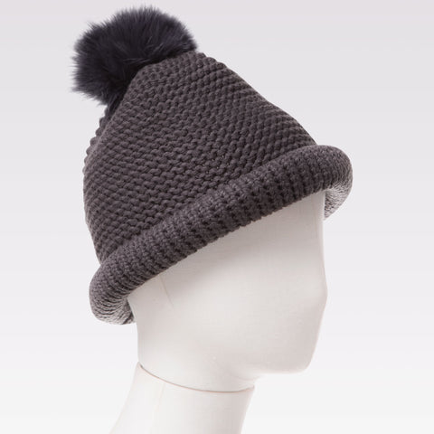 Pompom Crochet Knitted Hat (Charcoal) mannequin