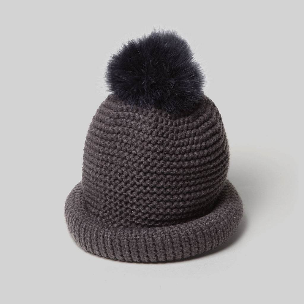 Pompom Crochet Knitted Hat (Charcoal)
