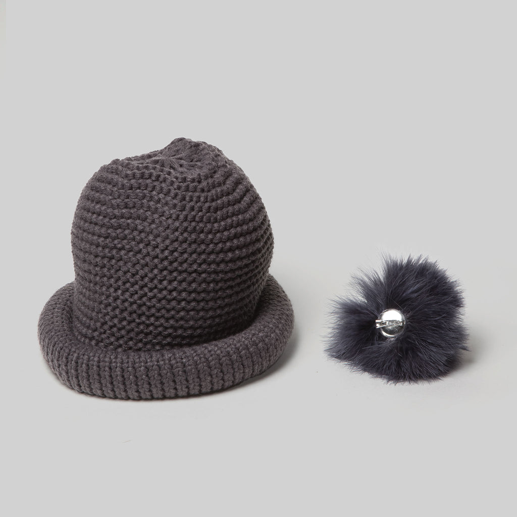 Pompom Crochet Knitted Hat (Charcoal) detachable pompom