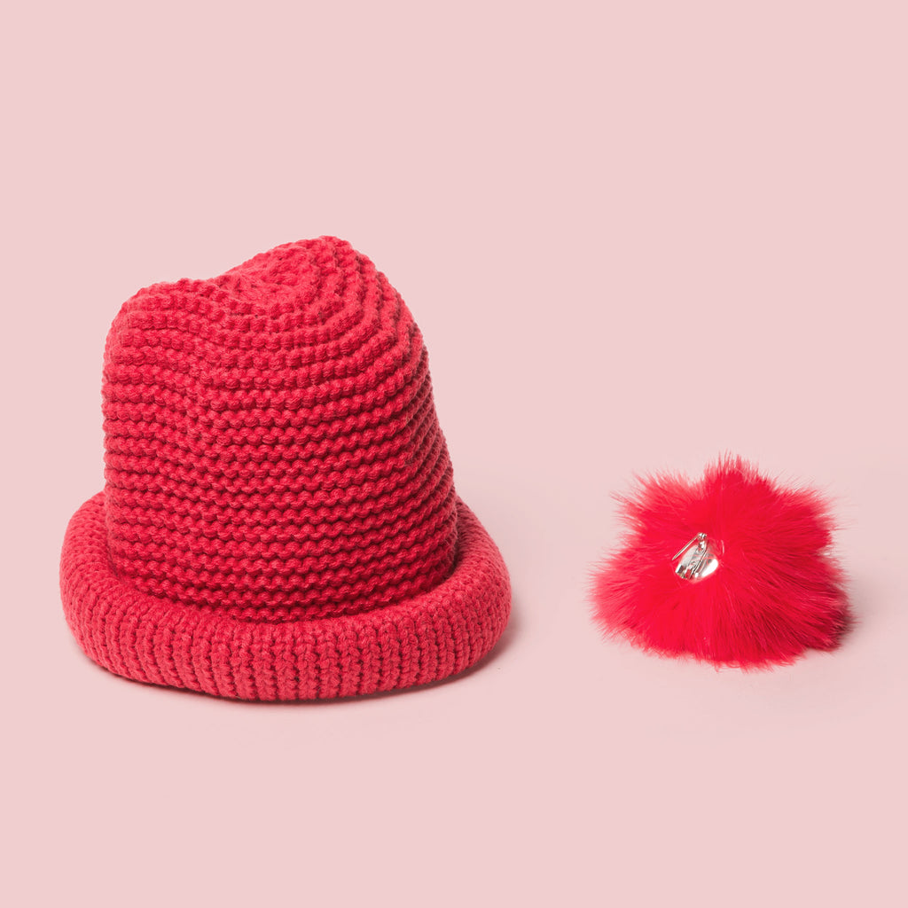 Kid's Pom Pom Crochet Knitted Beanie Hat Red detachable pompom