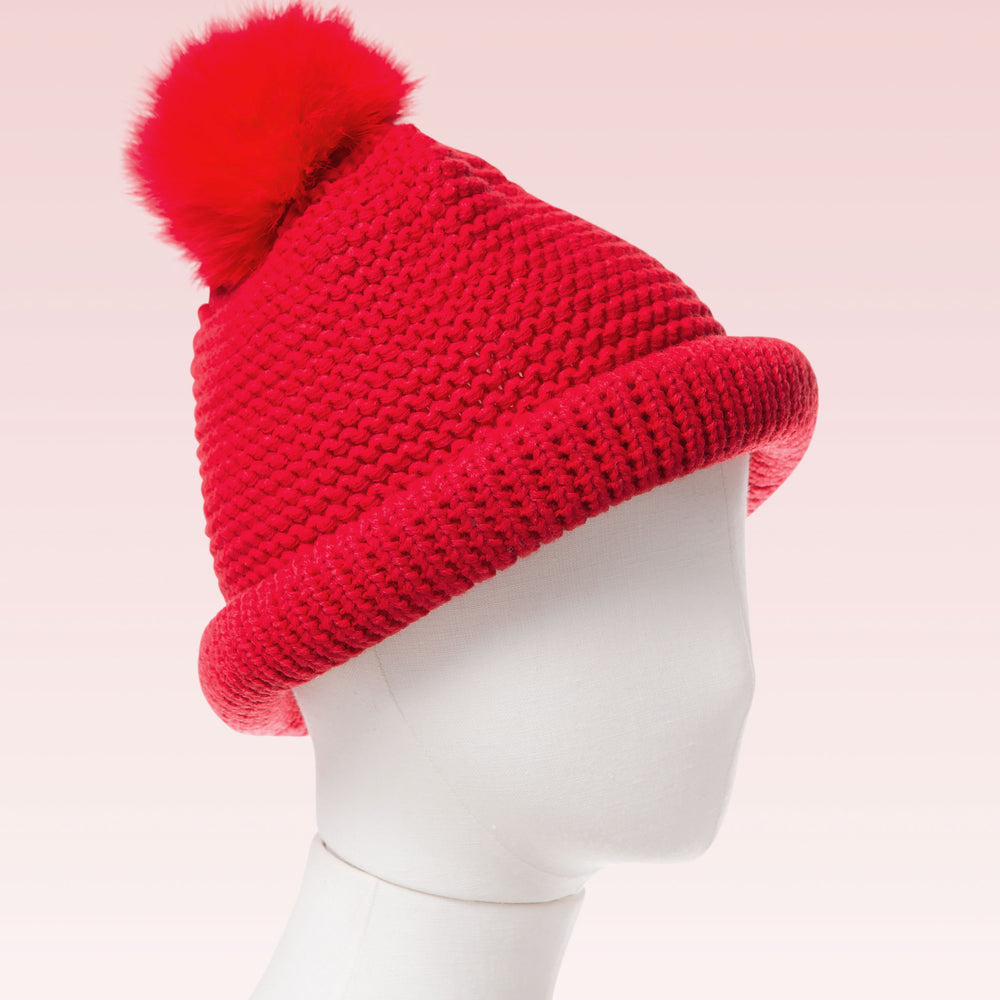 Kid's Pom Pom Crochet Knitted Beanie Hat Red mannequin