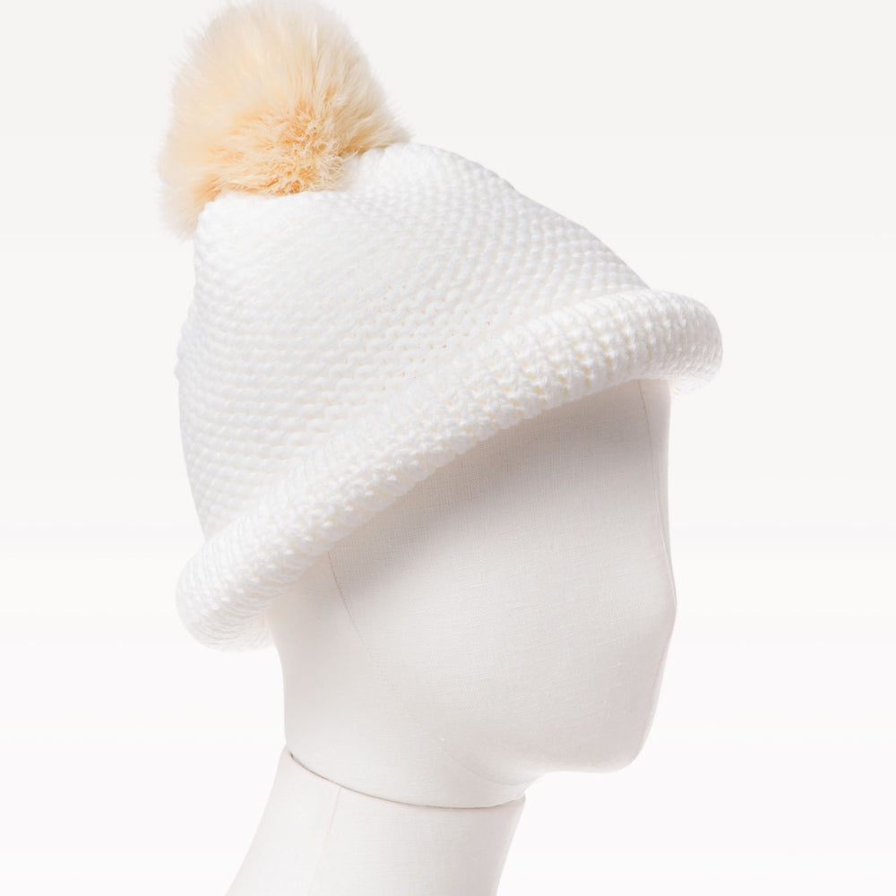 Kid's Pom Pom Crochet Knitted Beanie Hat White mannequin