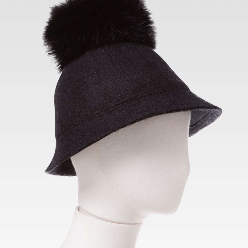 Pom Pom Wool Cloche Hat Black mannequin