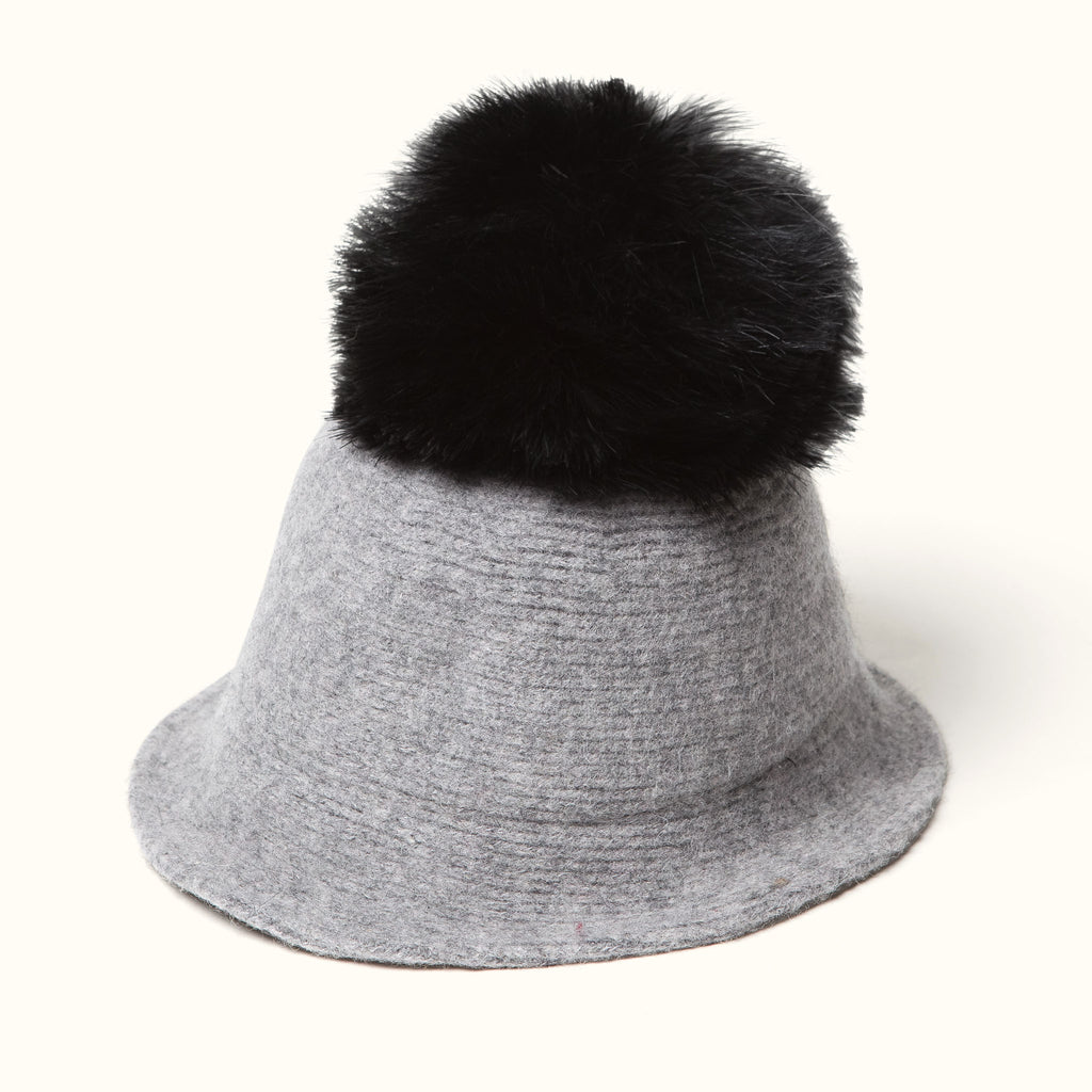 Pom Pom Wool Cloche Hat Gray