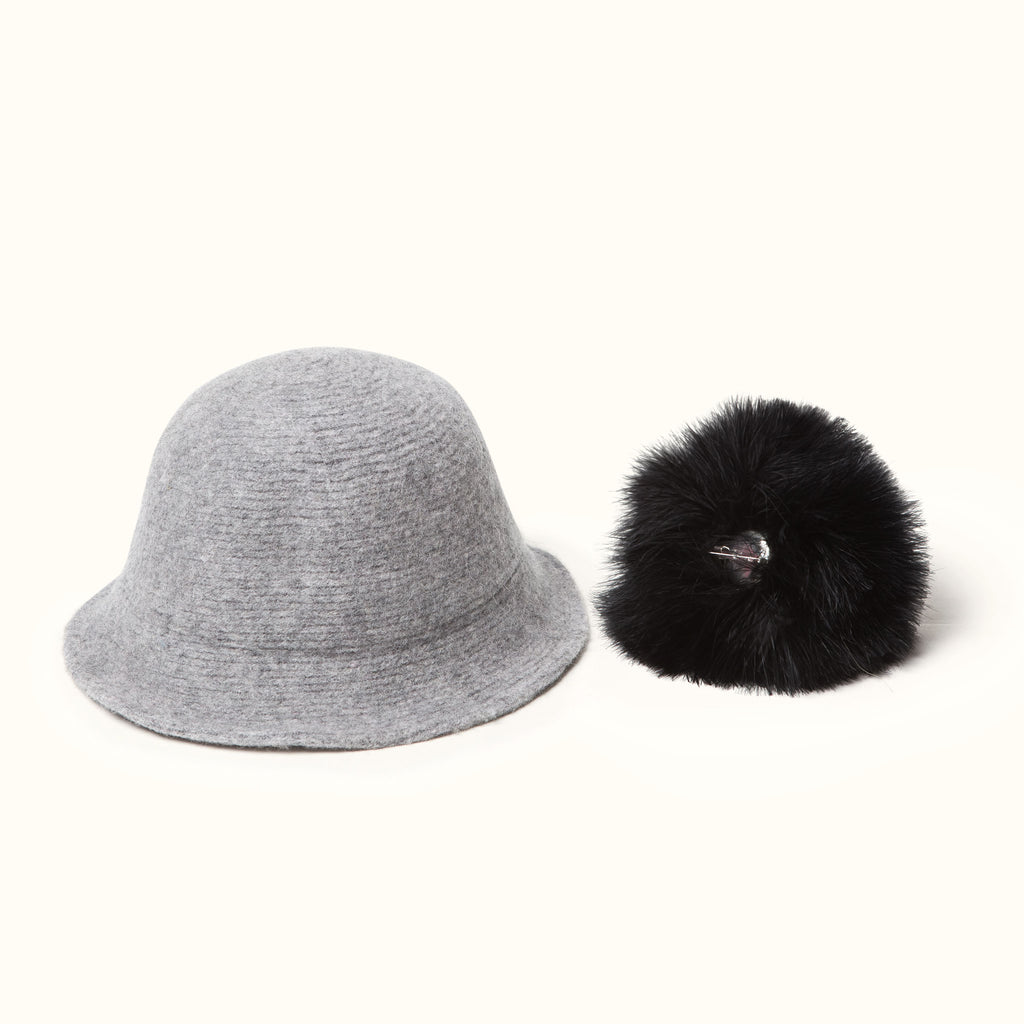 Pom Pom Wool Cloche Hat Gray detachable pom pom
