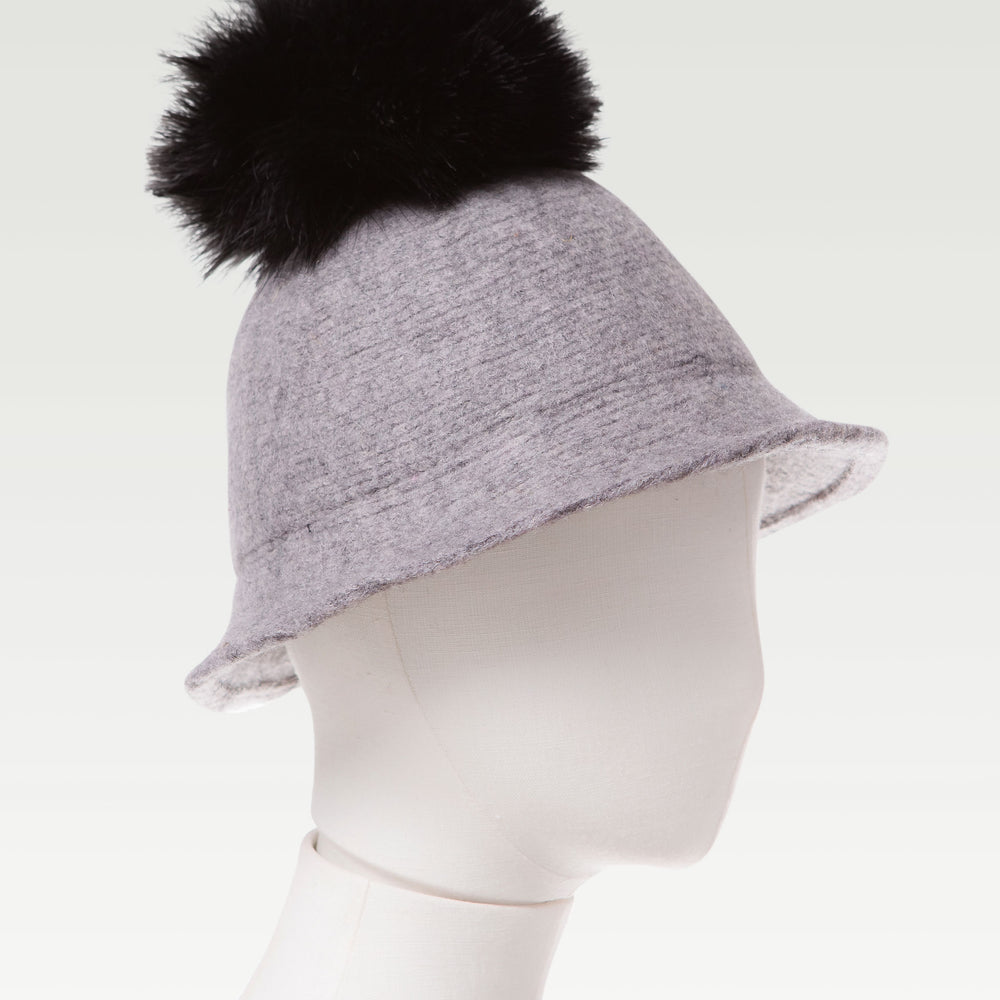 Pom Pom Wool Cloche Hat Gray mannequin
