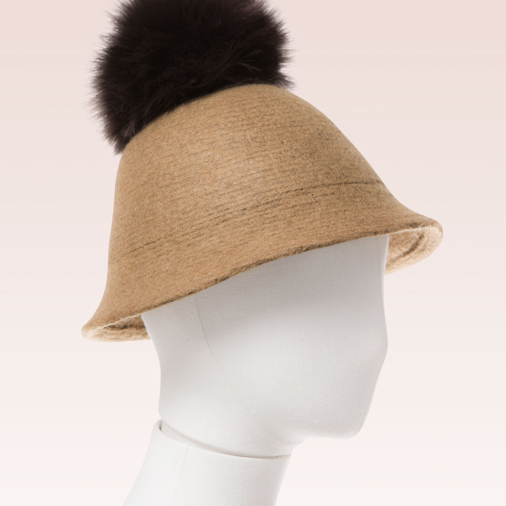 Pompom Wool Cloche Hat (Tan) mannequin