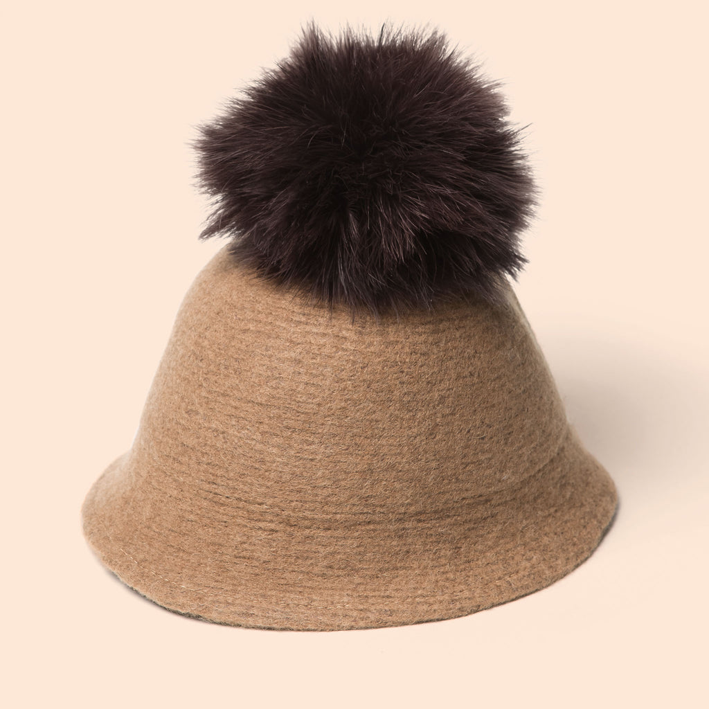 Pompom Wool Cloche Hat (Tan)