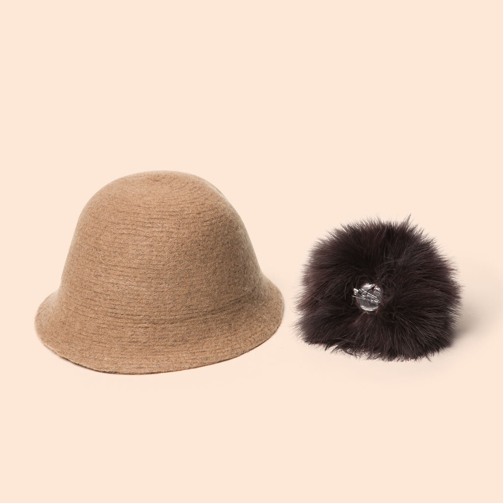 Pompom Wool Cloche Hat (Tan) detachable pom pom