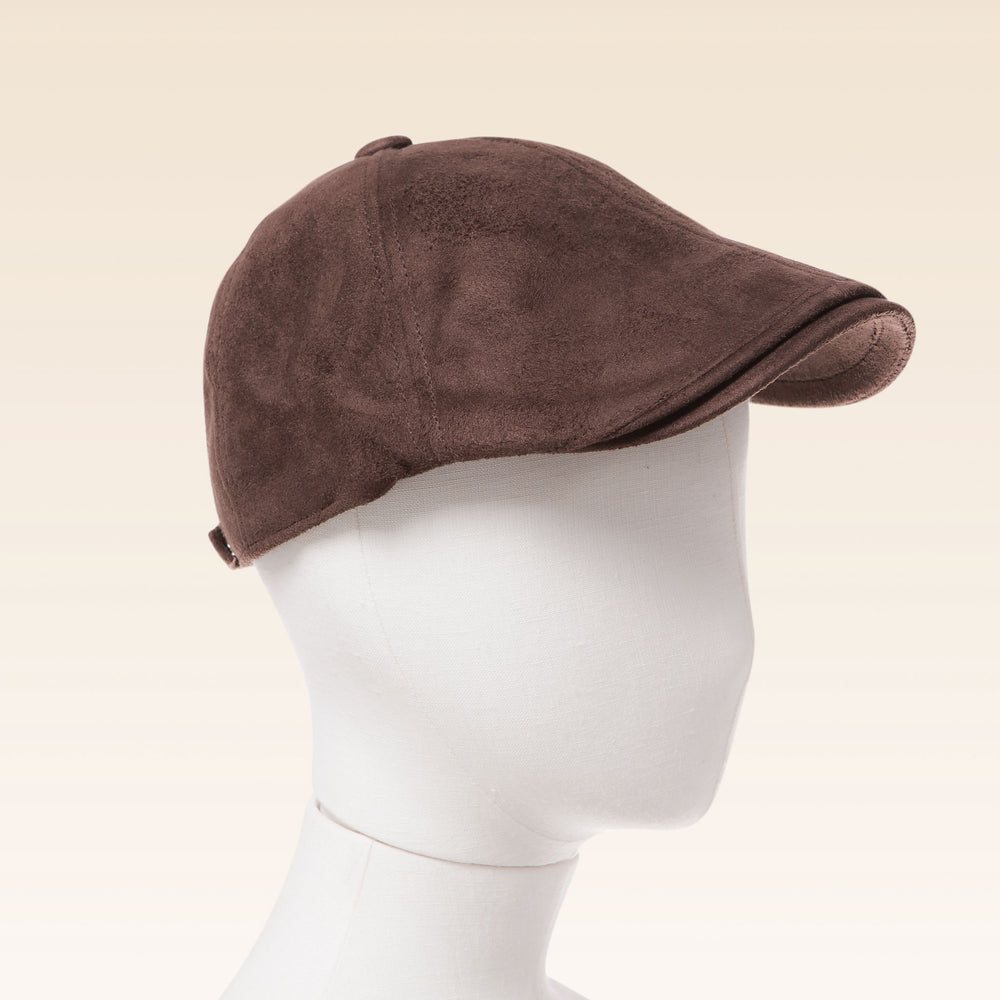 Suede Newsboy Cap (Brown)