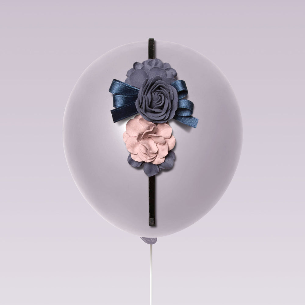 Republic of Pigtails Girl's Tiara Flower and Lace Blue and Pink Balloon