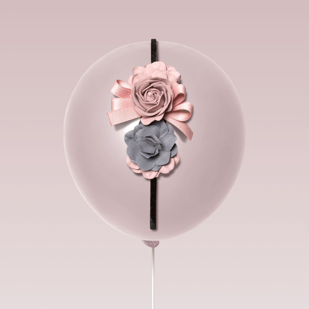 Republic of Pigtails Girl's Tiara Flower and Lace Pink and Grey Balloon