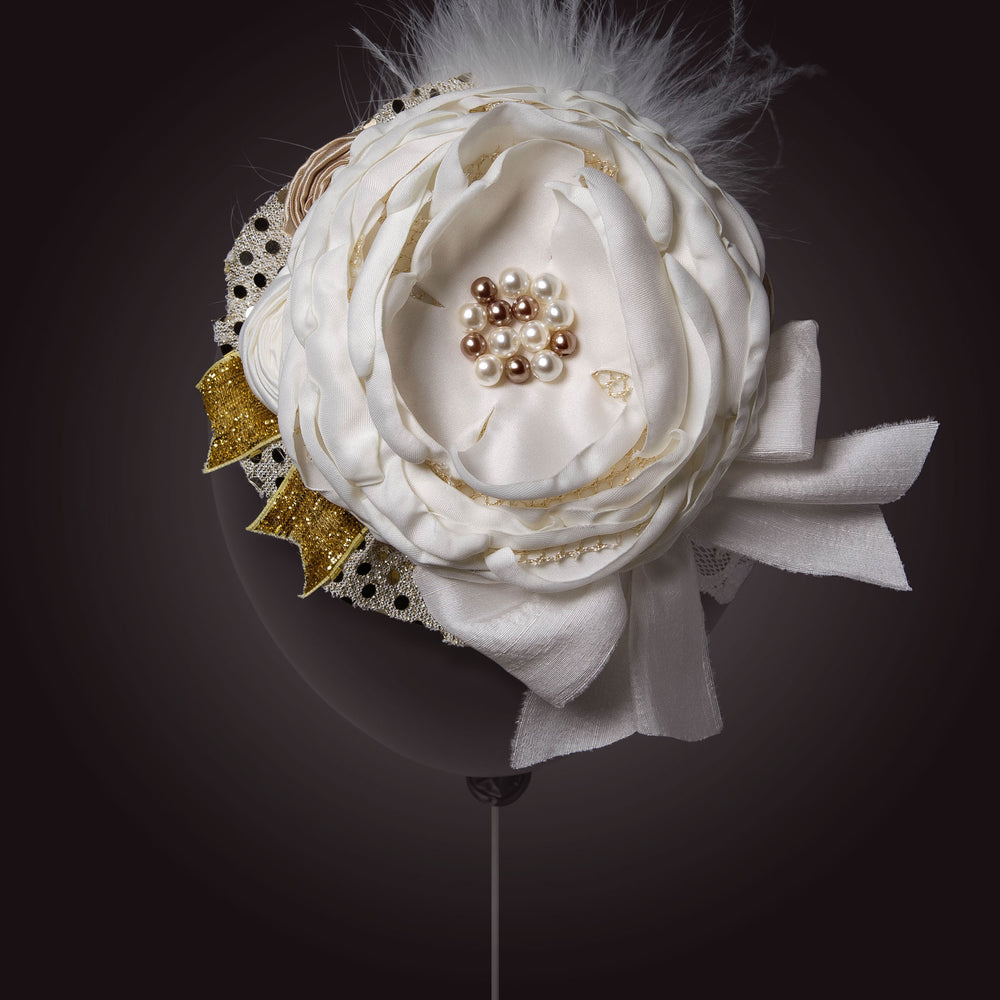 Melina's Bowtique Baby Girl's Headband Antoinette Gold and White Flower and Feathers Balloon