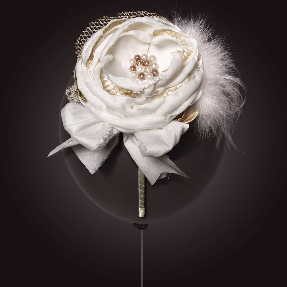 Melina's Bowtique Girl's Tiara Antoinette White and Gold Flower and Feather