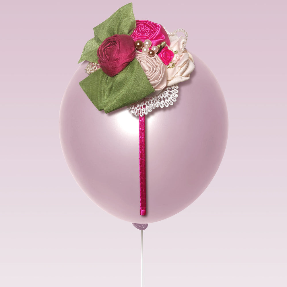 Melina's Bowtique Girl's Tiara Ava Pink Green and White Roses and Pearls Balloon