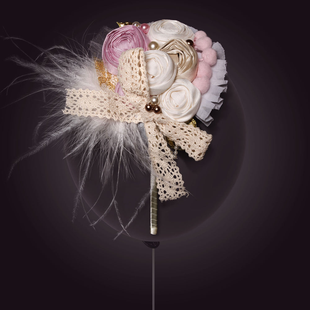 Melina's Bowtique Girl's Tiara Biscotti White, Pink and Gold Flower and Feather Balloon