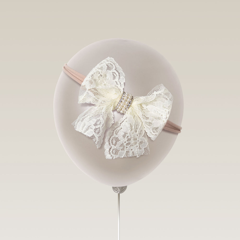 Hadband for baby newborn girls vintage bow white melina's bowtique balloon