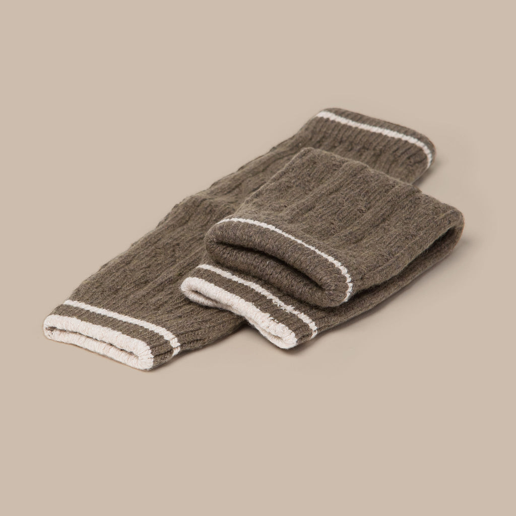Knitted Leg Warmers (Brown) flat