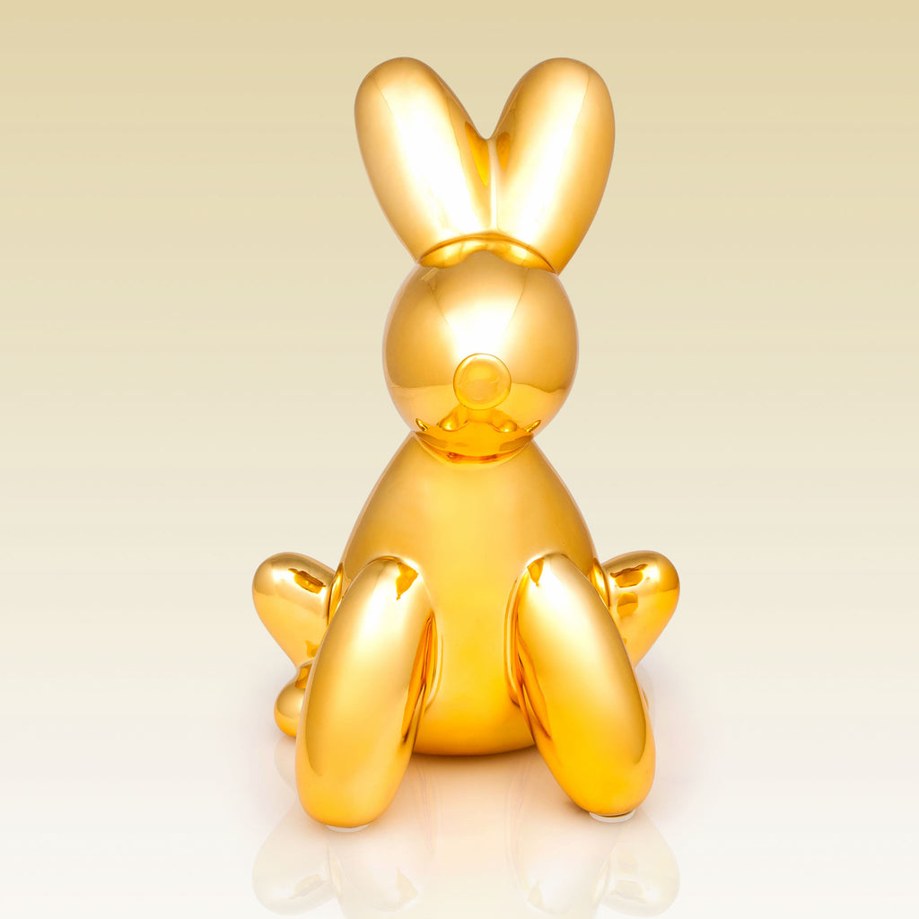Balloon Money Bank Bunny Gold metallic smart kids front