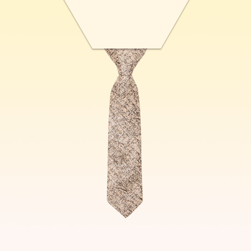 Pretied adjustable gold tweed mini-tie neck tie for boys
